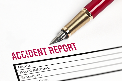 a close up of an accident report claim document